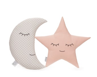 Set of moon and star pillows, light pink and gray pillows, children's pillows, kids room decor, kids pillows, baby bedding.