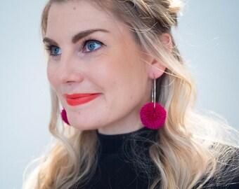Fuchsia Pom Pom Hoop Earrings