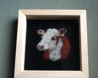 Needle felted cow picture