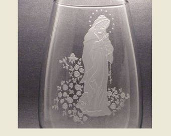 Virgin Mary Vase~ Personalized Vase ~Custom Engraved Vase~ Religious Vase~ Virgin MaryFlower Vase