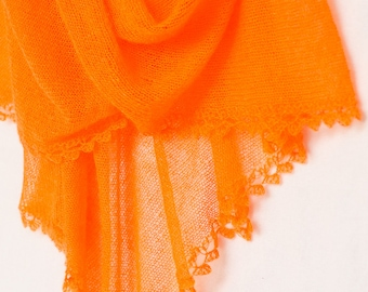 Orange stole, tangerine shawl, knit shoulder wrap, MADE TO ORDER