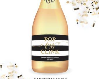 Pop Fizz Clink Mini Champagne Labels, Bachelorette Party Decor, Bridal Shower Favors, Engagement Party Favor, Pop Fizz Clink Champagne Label