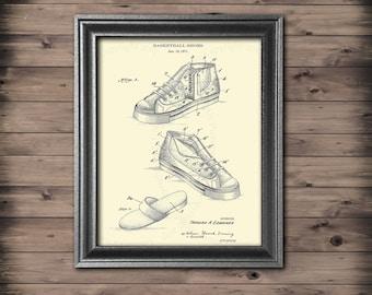 Basketball Shoes Art Print # 4, Unframed cream colored Basketball Decor for boys room, gift for basketball player Dorm decor