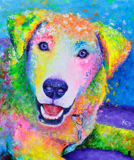 Labrador Dog Art Print - Labrador Retriever Print, Abstract Dog Art, Rainbow Dog, Dog Wall Art, Dog Lover Gift.