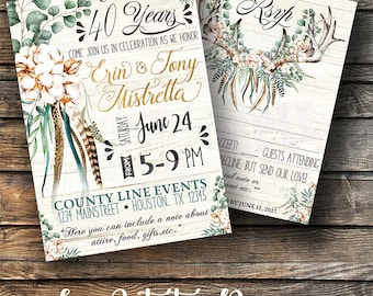 SET OF 12} A7 Custom Rustic Boho Anniversary Invitations with matching 4x6 rsvp card} Watercolor artwork}cotton flower}Printed for you by me