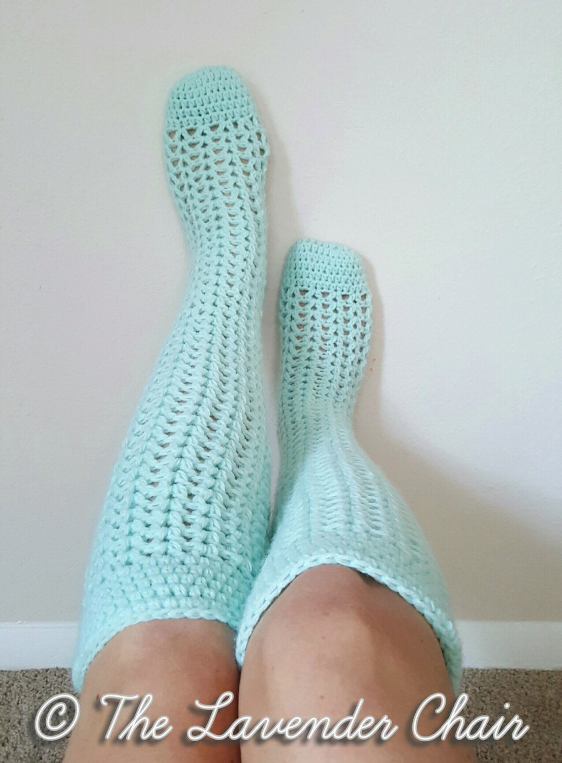 Valeries Knee High Socks Crochet Pattern PDF by TheLavenderChair