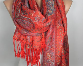 Red Pashmina Scarf Red Scarf Shawl Oversized Scarf Fall Winter Scarf Women Fashion Accessories Holiday Christmas Gift For Her Mom