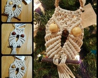 Natural Cotton Macrame Owl Charm