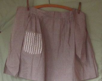 Vintage Brown Gingham Apron with Rickrack Decorated pocket