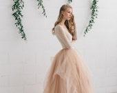 Wedding Dress , Blush Tulle Dress , Two Piece Wedding Dress, Bridal Separates ,Long Sleeve Wedding Dress - MELANIE