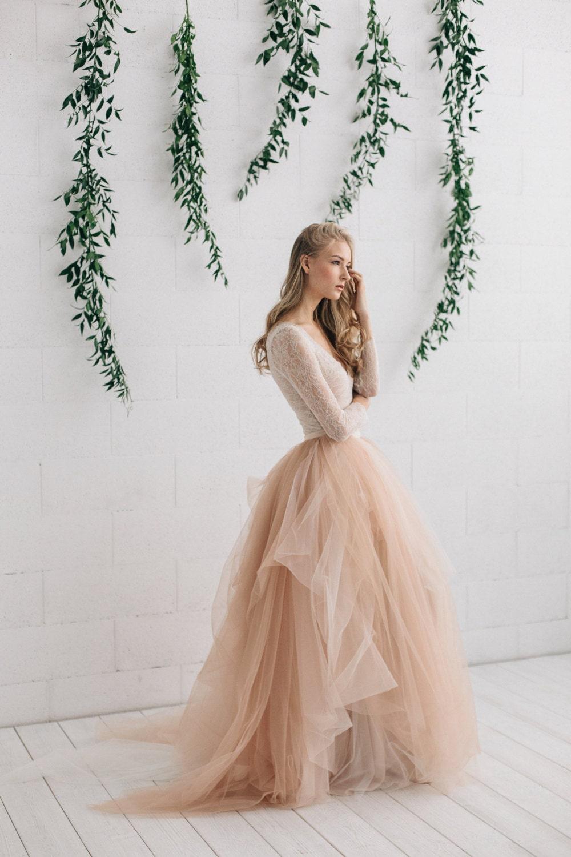 Wedding dress champagne tulle dress blush ivory wedding for Long sleeve blush wedding dress