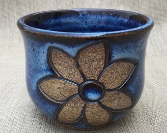 Blue Juice Cup with Carved Flower, Ceramic Cup, Handmade Cup