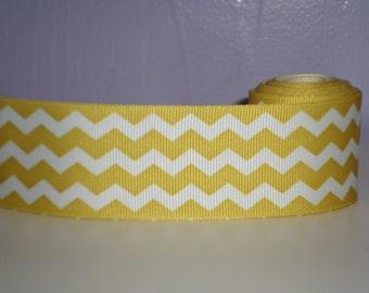 "Yellow and white chevron 1.5"" wide grosgrain ribbon 2 yards 34"", zig zag ribbon lot, mustard yellow ribbon, hairbow ribbon lot!"
