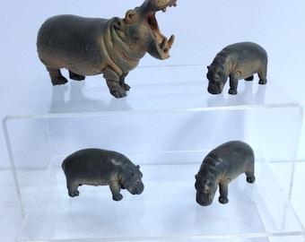 Hippo Models Vintage Schleich Hippopotamus, Hippo Babies Calf Hand Sized Teaching Models for Diorama African Animals Retired Schleich Hippo
