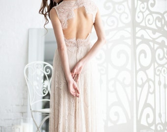 Boho wedding dress, Lace wedding dress, Bohemian wedding dress, Open back wedding dress, Ivory wedding dress, 0012 // 2017