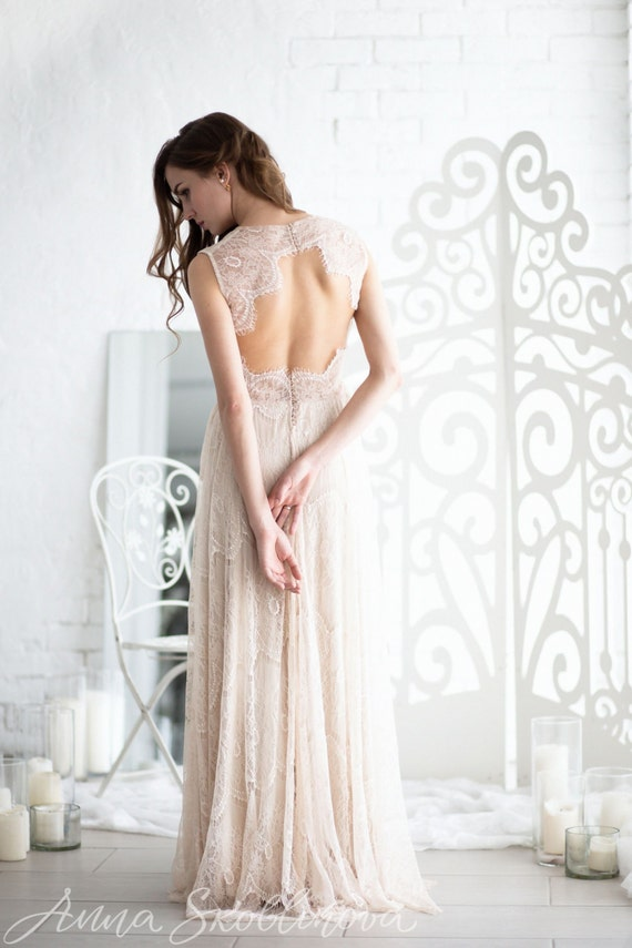 Boho Lace Wedding Dress Etsy : Boho wedding dress lace bohemian open