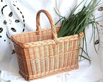 Handmade Willow Basket, Handmade Wicker Basket, Country Kitchen Basket, Woven Picnic Basket, Handmade Woven Basket, Rectangular Basket