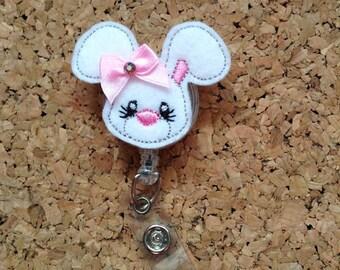 Bunny Badge Reel | Felt White Flop Earred BUNNY ID Badge Reel | Lanyard | Retractable Name Holder | Nurse / Teachers / Office Workers | 268