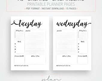 Printable undated Planner pages A5 Planner Black watercolor Minimal planner pages Instant download Day per page DIY planner