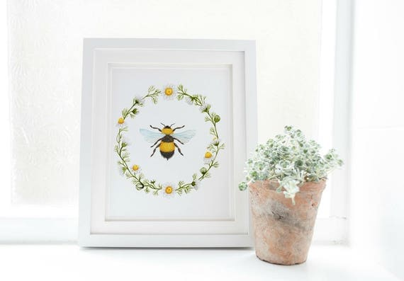 Bee Print Honey Art Spring Home Decor Farmhouse Wall