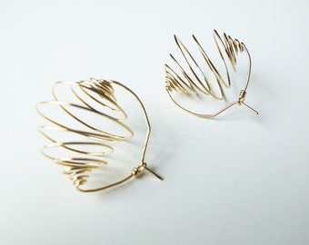 Gold plated earrings. Modernist and Minimalist. Endless Spiral. Handmade.