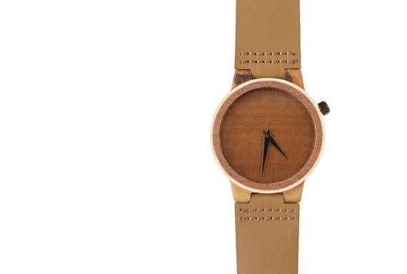7PLIS watch #46 Recycled SKATEBOARD #madeinfrance yellow brown green wood