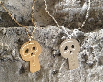 Silver Skull Necklace Gold Skull Jewelry Skull Pendant Day Of The Dead Halloween Jewelry Halloween Necklace Dainty Necklace Skull Charm