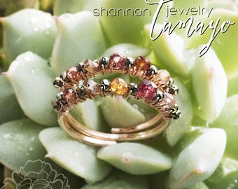Stiletto Rose Ring - Double Hand-Forged 14k Rose Gold Filled Band Encrusted with Tundra Sapphires and Garnets -