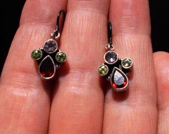 Genuine garnet, lavender amethyst and peridot solid sterling silver earrings