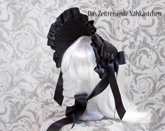 Victorian half-bonnet, black, Gothic, Lolita