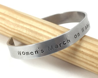 Women's March on Washington, January 21, 2017, Adjustable Bracelet, Metal Hand Stamped Address (LL201)