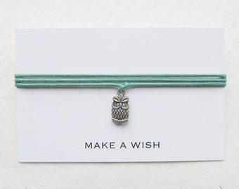 Wish bracelet, make a wish bracelet, friendship bracelet, owl bracelet, W33