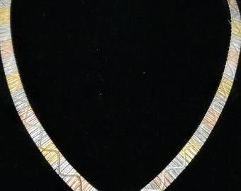 V neck - 24K Gold Plated Sterling Silver tri-color 16 inch choker