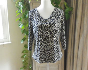 Vintage 80s Animal Print Top Size L by Kathy Lee Velour Top, Glam Top, Diva Top, Rocker Top, Chic Top, Casual Top, Travel Wear, Vneck Top