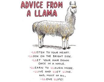 Llama Theme, Quirky Llama Humor, Gift For Student, Funny Advice, Alpaca Print, Motivational Art, Llama Love, Life Coach, Cute Llama Gift