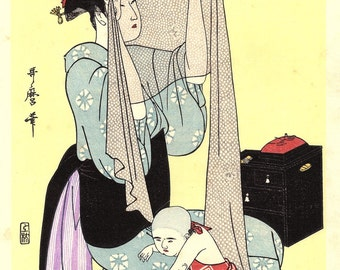 "Japanese Ukiyoe, Woodblock print, antique, Utamaro,  ""Needlework"""