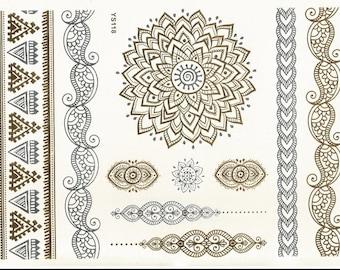 Metallic Temporary Tattoos- Henna mandala mehendi designs intricate designs on Gold  Silver Body art for women