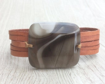 Brown leather bracelet and fused glass, women jewlery bracelet leather fused glass cuff, fused glass bracelet handmade brown and teel