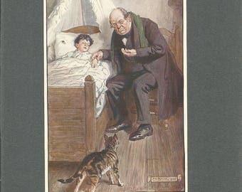 1910  children print signed in print by illustrator C E Brock. antique children print wall art