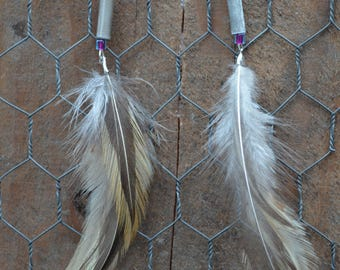 Rooster Feather & Beaded Dangle Earrings / 100% Cruelty FREE