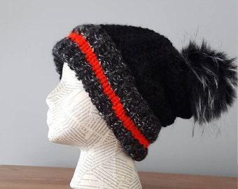 Slouchy hat PATTERN beanie hat pattern pompom hat pattern slouchy beanie winter hat pattern winter hat pattern for woman winter hat for her
