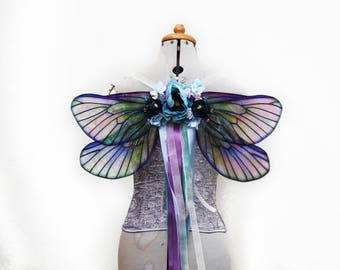 The Shimmering Water/Mer-Fairy - Blue and Purple Transparent Butterfly Fairy Wings - Costume/Fairy - Faerie Cosplay/Wearable Wings