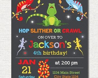 Reptiles Birthday Invitation, Reptile Invite, Reptile Party, printable