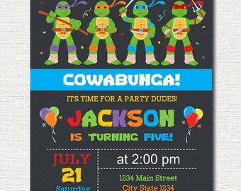 tmnt invitation  etsy, Party invitations