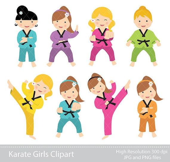 digital clipart karate girls clipart instant download