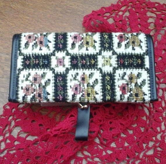 WELSH TAPESTRY PURSE - Vintage - Roses pattern - Wool - 1960's