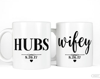 Personalized Wedding Gift Coffee Mug Set-Hubs and Wifey Mug Set-Customized Anniversary Gifts for Couples Mug Set-Husband Wife