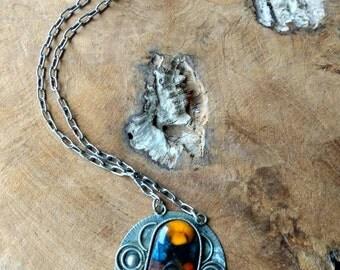 SALE - Vintage Necklace - 60's - Yellow - Glass - Pendant - Modern