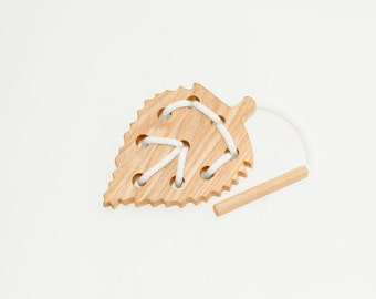 Wooden lacing birch leaf toy, Educational toy, Montessori toys, Organic toy, Toddler activity, Natural eco friendly, Learning sewing toys