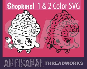Shopkins SVG Cupcake - Minimalist Simple Single and Two Color Cutting Files and Clip Art - png, jpg, svg